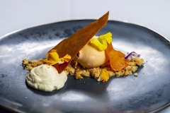 Goat Cheese Mousse and Persimmon Ice Cream by Sashi Cheliah